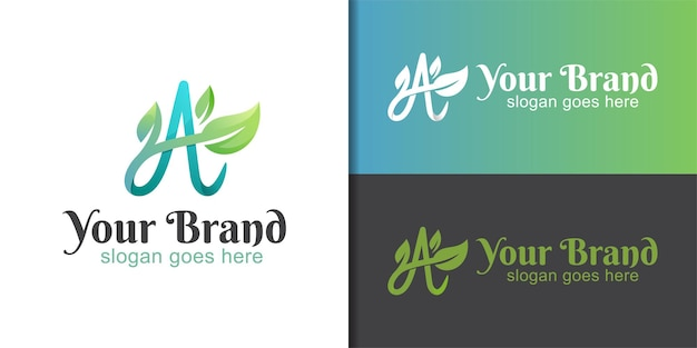 Gradient logos of initial letter a with growing leaf concept for herbal medic, natural product logo