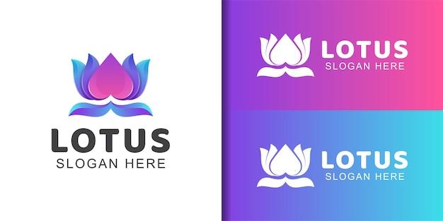 스파 및 미용 제품에 대한 사랑 아이콘 기호가 있는 아름다움 꽃 연꽃의 그라데이션 로고