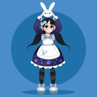 Gradient lolita style girl illustration