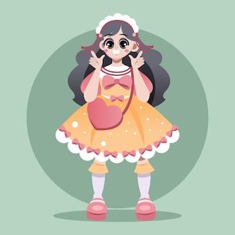 Градиентная иллюстрация девушки в стиле лолиты