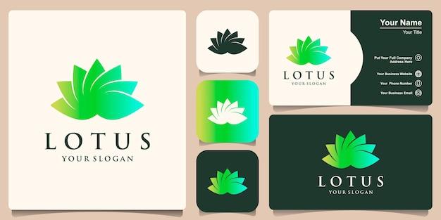 Градиентный цветок лотоса логотип и дизайн визитной карточки