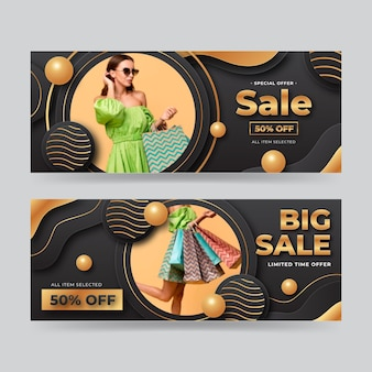 Gradient luxury banners with photo