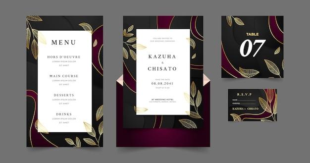 グラデーションの豪華な結婚式の文房具のテンプレート
