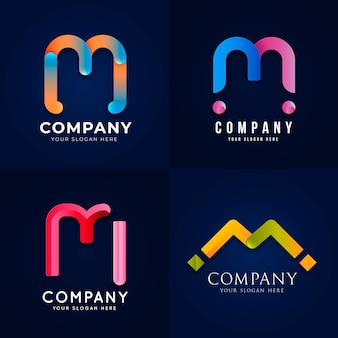 Gradient m logo template collection