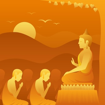 グラデーション万仏節の日のイラスト