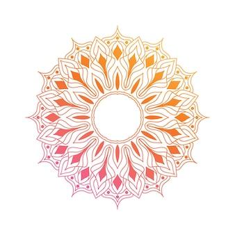 그라데이션 만다라 디자인 요소입니다. 생생한 핑크와 오렌지 색상의 아름다운 벡터 만다라. 꽃무늬가 있는 만다라.