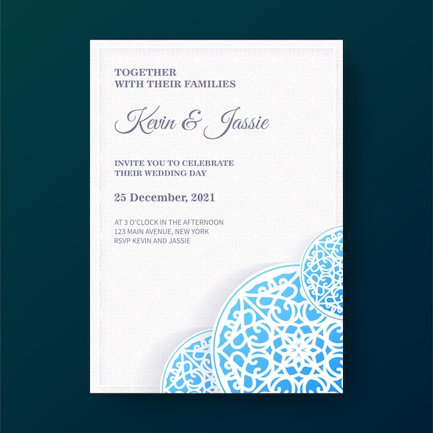 Gradient mandala style wedding invitation