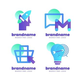 グラデーションマーケティングロゴコレクション