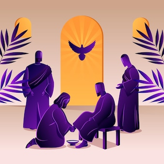 Gradient maundy thursday illustration