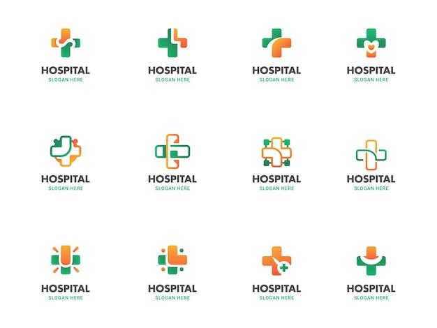 グラデーションの医療と健康のロゴのモノライン、および十字、ハート、翼の形に設定されたフラットイラストテンプレート