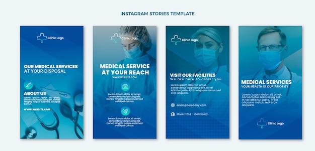Storie di instagram mediche sfumate Vettore gratuito
