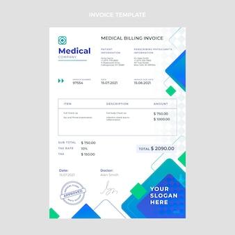 Modello di fattura medica gradiente