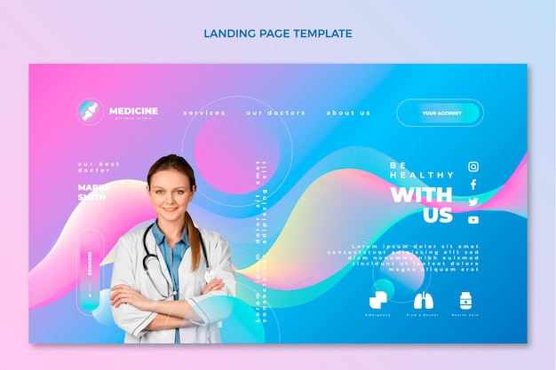 Gradient medical landing page template