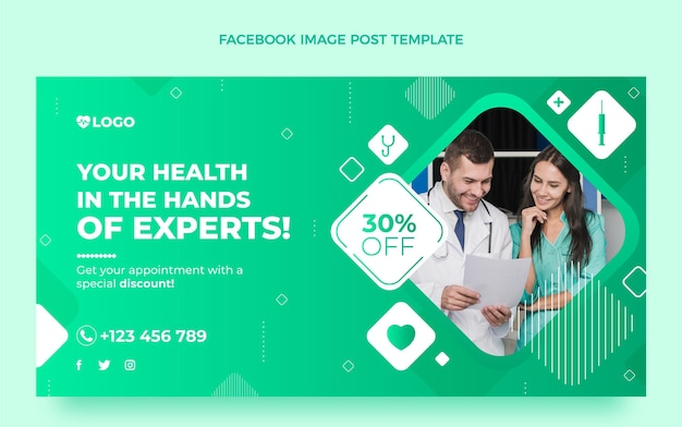 Gradient medical social media post template
