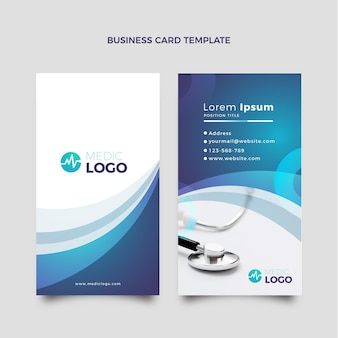 Gradient medical vertical business card template