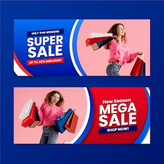 Gradient mega sales banners with photo