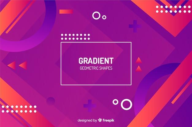 グラデーションメンフィスと幾何学的図形の背景
