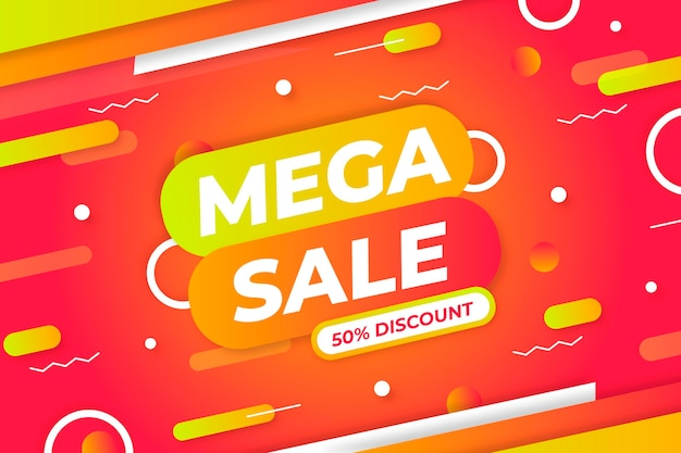 Gradient memphis colorful sale background