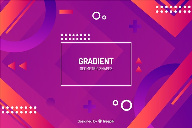 Gradient memphis and geometric shapes background