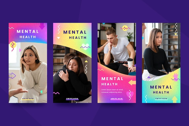 Gradient mental health instagram stories collection with photo