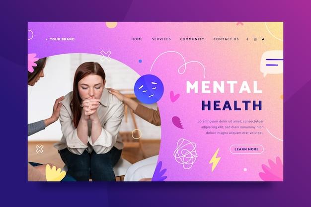 Шаблон целевой страницы градиента психического здоровья с фотографией