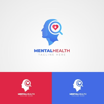Gradient mental health logo template on different colors