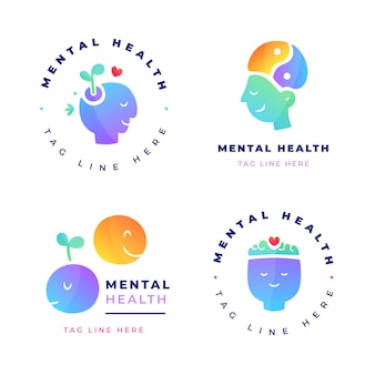 Collezione di loghi di salute mentale sfumata