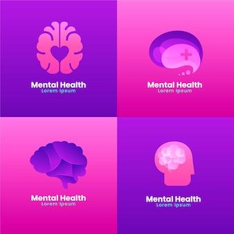 Set di loghi di salute mentale gradiente