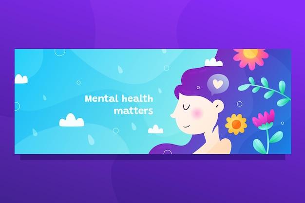 그라데이션 정신 건강 소셜 미디어 표지 템플릿