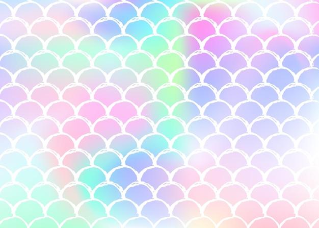 홀로그램 비늘이 있는 그라데이션 인어 배경. 밝은 색상 전환