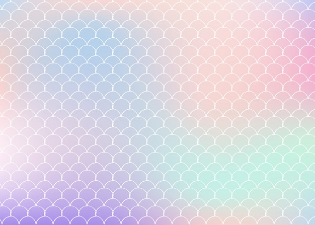 Gradient mermaid background with holographic scales.
