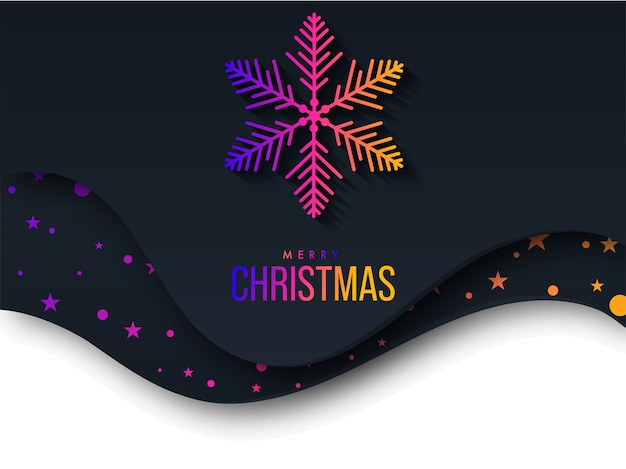 Gradient merry christmas text with snowflake and stars on paper cut black and white background.