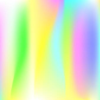 그라디언트 메쉬 추상적인 배경입니다. 그라디언트 메쉬가 있는 액체 홀로그램 배경입니다. 90년대, 80년대 레트로 스타일. 브로셔, 전단지, 포스터 디자인, 벽지, 모바일 화면에 대한 무지개 빛깔의 그래픽 템플릿.