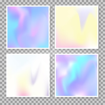 Gradient mesh abstract backgrounds set. futuristic holographic backdrop with gradient mesh. 90s, 80s retro style. pearlescent graphic template for brochure, flyer, poster, wallpaper, mobile screen.