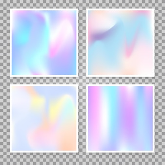 Gradient mesh abstract backgrounds set. minimal holographic backdrop with gradient mesh. 90s, 80s retro style. pearlescent graphic template for brochure, flyer, poster, wallpaper, mobile screen.