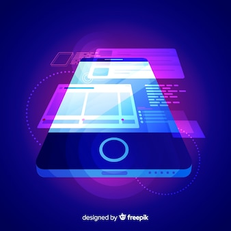 Gradient mobile isometric technology background