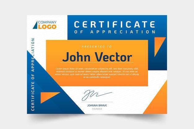 Gradiente moderno certificato di apprezzamento