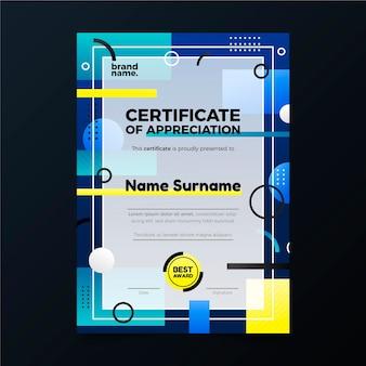 Градиент современный сертификат признательности