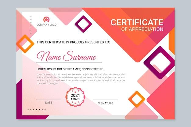 Modello di certificato moderno gradiente