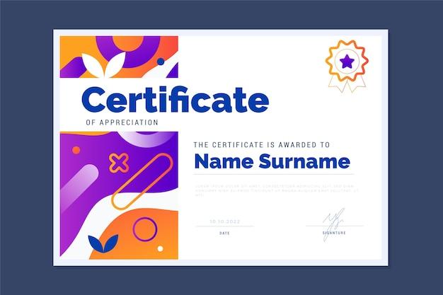 Gradient modern certificate template Free Vector