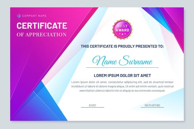 Современный шаблон сертификата градиента