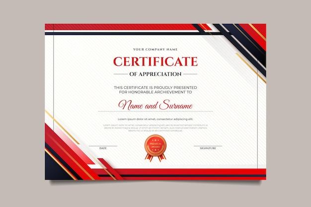 Modello di certificato moderno gradiente Vettore gratuito
