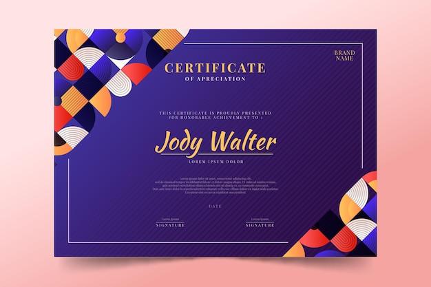 Шаблон сертификата градиентной мозаики