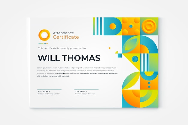 Gradient mosaic certificate template