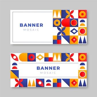 Набор горизонтальных баннеров градиентной мозаики