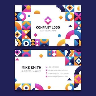 Шаблон горизонтальной визитной карточки градиентной мозаики