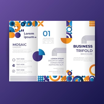 Gradient mosaic trifold brochure template Free Vector