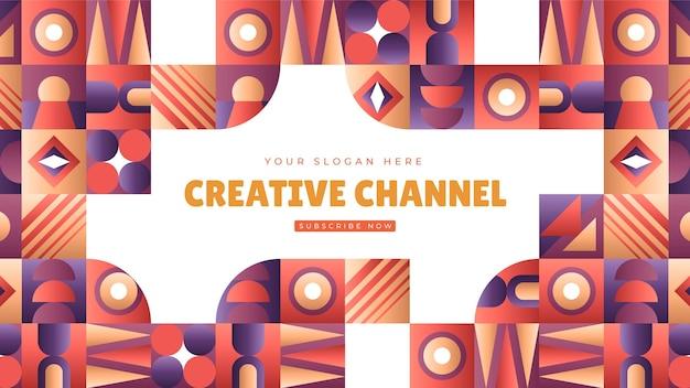 Шаблон оформления канала youtube градиентная мозаика