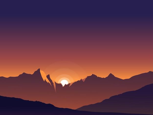 그라데이션 산 일몰 풍경