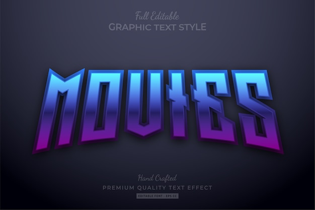 Gradient movies editable text effect font style